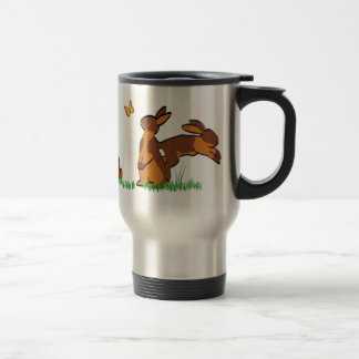 CHOCOLATE TANS IN THE GRASS STAINLESS STEEL TRAVEL MUG