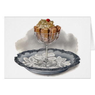 Chocolate Trifle Vintage Dessert Greeting Card