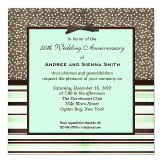 ChocoMint 50th Wedding Anniversary 13 Cm X 13 Cm Square Invitation Card