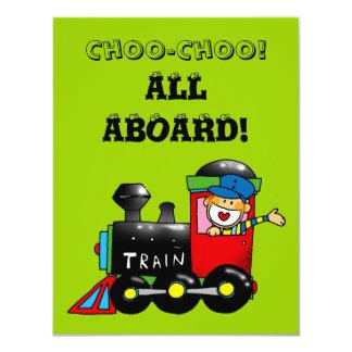 choo choo train 5th birthday party 11 cm x 14 cm invitation card