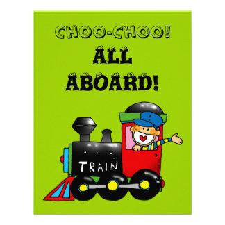 choo choo train 5th birthday party personalized invitations