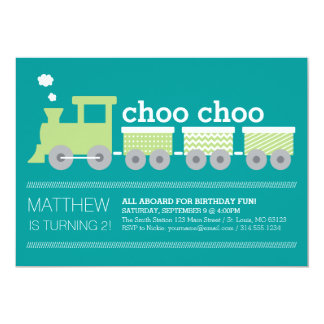 "Choo Choo Train Birthday Invitation 5"" X 7"" Invitation Card"