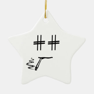 CHOOSE ANY COLOR # Hashtag Dude Smiley Face Christmas Ornament
