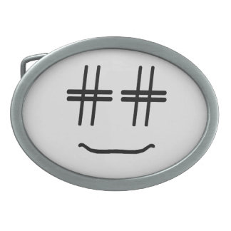 CHOOSE ANY COLOR # Hashtag Smiley Face Cute Belt Buckle