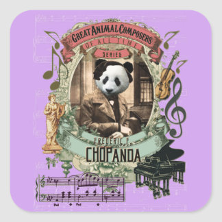Chopanda Panda Funny Great Animal Composer Chopin Square Sticker