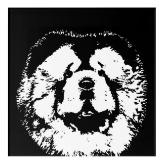 Chow Chow Black & White Acrylic Wall Art