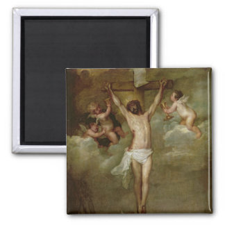Christ attended by angels holding chalices square magnet