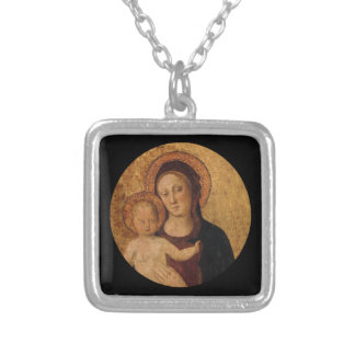 Christ Child in  Arch with Mother Silver Plated Necklace