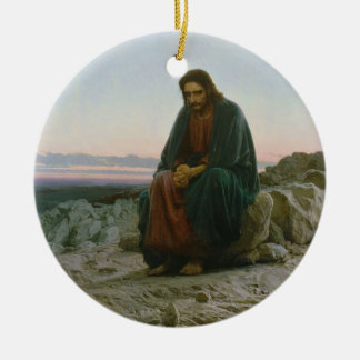 Christ in the Desert by Ivan Nikolaevich Kramskoi Christmas Ornament