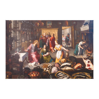 Christ with Martha and Mary by Joos Goemare Canvas Print