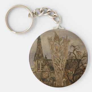 Christchurch Cathedral and Chalice Basic Round Button Key Ring