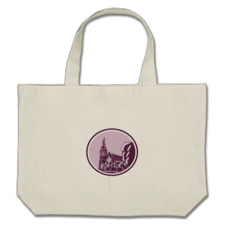 Christchurch Cathedral Woodcut Retro Tote Bag