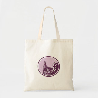 Christchurch Cathedral Woodcut Retro Budget Tote Bag