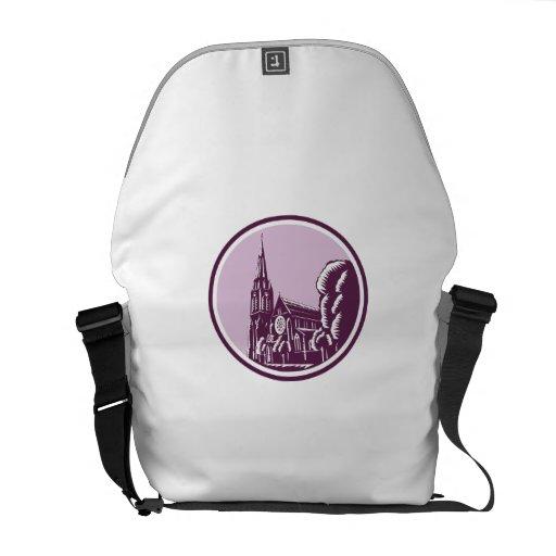 Christchurch Cathedral Woodcut Retro Messenger Bag
