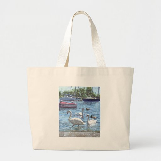 christchurch harbour swans and boats tote bag