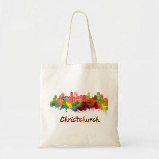 Christchurch skyline in watercolor tote bag