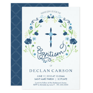 Christening, Baptism Invitation Boys Invite Card
