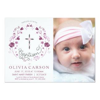 Christening, Baptism Photo Invitation with Cross