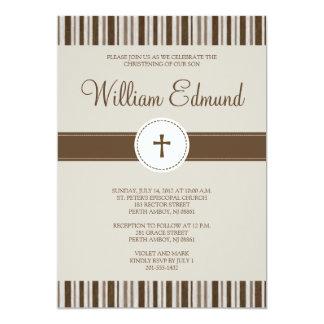 Christening Brown Stripe Invitation