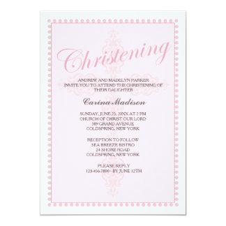 Christening Cross Pink Invitation