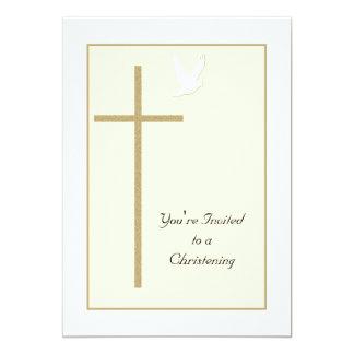 Christening Invite Template Cross and Dove