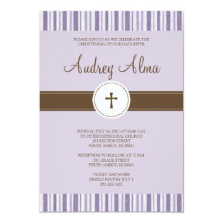 Christening Purple Stripe Invitation