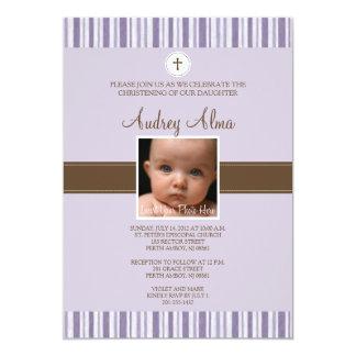 Christening Purple Stripe Photo Invitation