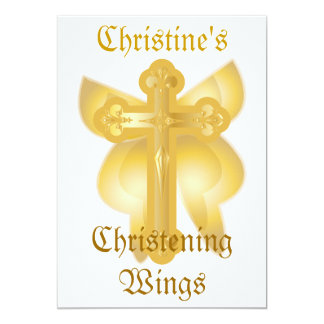 Christening Wings Invitation-Customize Card