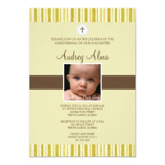 Christening Yellow Stripe Photo Invitation