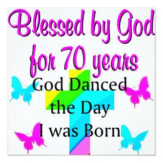 CHRISTIAN 70TH BIRTHDAY 13 CM X 13 CM SQUARE INVITATION CARD