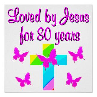 CHRISTIAN 80TH BIRTHDAY CROSS DESIGN