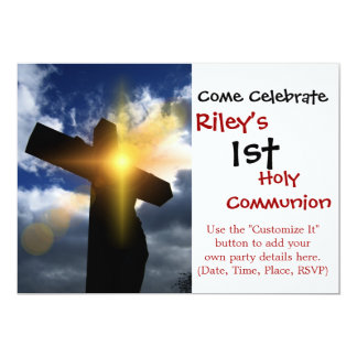 "Christian Cross at Easter Sunrise Service 5"" X 7"" Invitation Card"