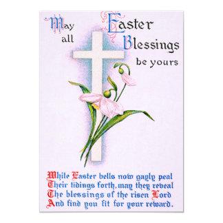 Christian Cross Easter Lily Poem 13 Cm X 18 Cm Invitation Card