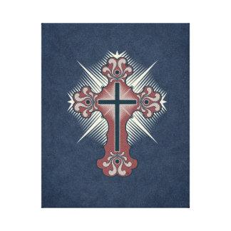 Christian cross flourish blue and red canvas print
