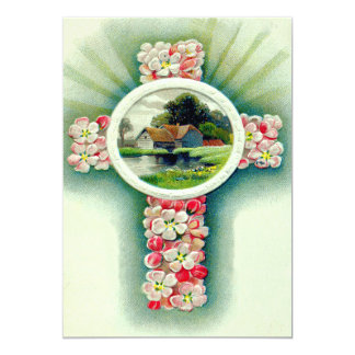 Christian Cross Forget-Me-Not Flowers 13 Cm X 18 Cm Invitation Card