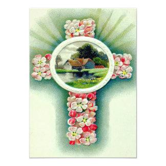 Christian Cross Forget-Me-Not Flowers 13 Cm X 18 Cm Invitation Card