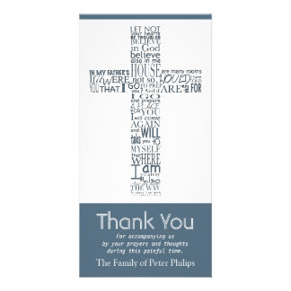 Christian Cross John 14:02 Sympathy Thank You 7 Custom Photo Card