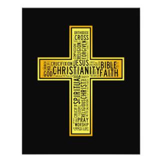 Christian gold cross - text design 11.5 cm x 14 cm flyer