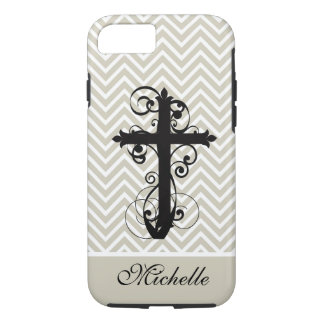 Christian Swirling Cross Personalized Chevron iPhone 7 Case