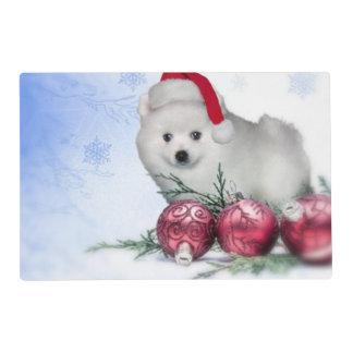 Christmas American Eskimo Laminated Placemat