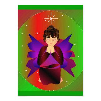 Christmas Angel Baby Girl Praying 5x7 Paper Invitation Card