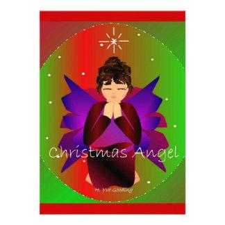 Christmas Angel Baby Girl Praying Custom Announcement