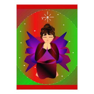 Christmas Angel Baby Girl Praying Custom Invitations