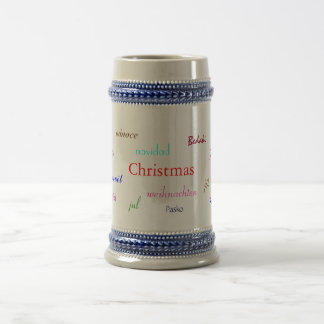 Christmas Around The World In Grey And Blue Beer Steins
