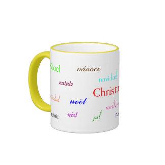 Christmas Around The World In White And Yellow III Mugs