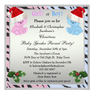 Christmas Baby Gender Reveal Bears in Santa Hats 13 Cm X 13 Cm Square Invitation Card
