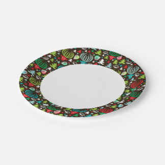 Christmas background pattern wrapping paper plate