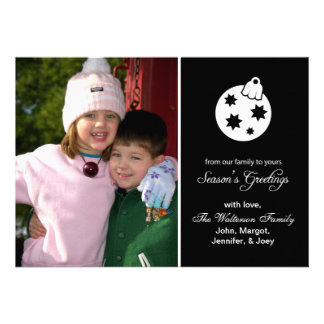 Christmas Ball Ornament Season s Greetings Black Personalized Announcement