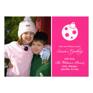 Christmas Ball Ornament Season s Greetings Pink Personalized Invitations