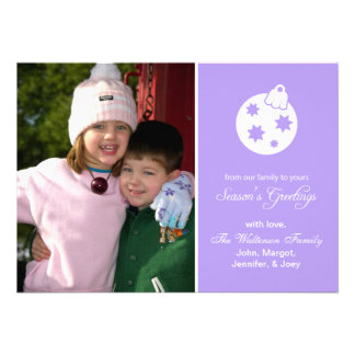 Christmas Ball Ornament Season s Greetings Violet Personalized Invites
